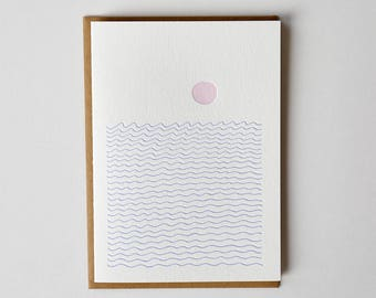 Ocean Sun Letterpress Greeting Card