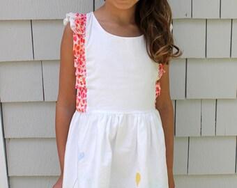 Girls Dress, Ruffled Suspender Dress, Ruffled Dress, Summer Park Scene,