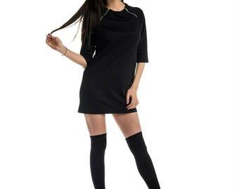 Black loose tunic/ Little black dress/ Black zipped tunic/ Zip tunic