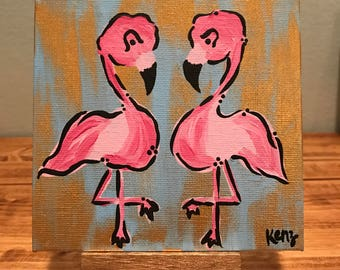 """5x5 """"Mini"""" Flamingo Pair - Pink Flamingo Abstract Painting w/ easel"""