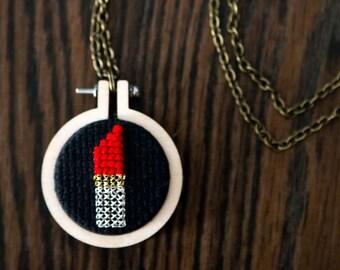 Lipstick, Cross Stitched, Necklace, Mini Hoop, Hoop Necklace, Rouge Lipstick, Red Lipstick, Modern Cross Stitch, Minimalist Cross Stitch,