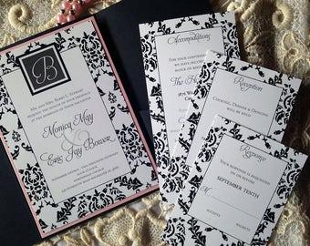 Classy Damask Wedding Invitation Suite