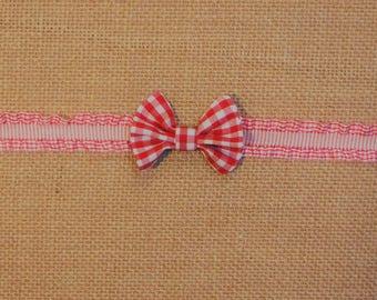 Red Gingham Mini Bow Headband