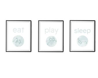 Molecule Science Nursery Art Decoration Eat Play Sleep- Instant Printable Digital Download