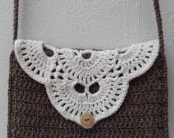 Crochet handbag brown white