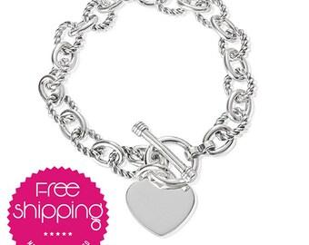 Heart Jewelry.Vintage.Sterling Silver.Link Bracelet.Heart.Bracelet.Spring Clasp.Silver.Tiffany Style.Heart Charm (Link Heart Bracelet)
