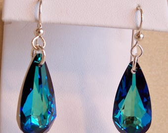 Swarovski Bermuda Blue Crystal Teardrop Earrings, Swarovski Earrings, Blue Crystal Jewelry, Handmade, Green Crystal, Ocean Blue Teardrop