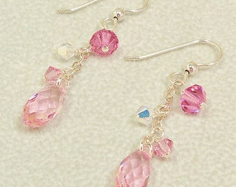 Swarovski Crystal Earrings, Swarovski Pink Earrings, Crystal Earrings, Swarovski Rose Pink Earrings, Pink Crystal Jewelry,Swarovski Jewelry