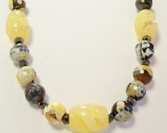 Yellow Jade, Yellow Agate, and Crystal Necklace, Yellow Jade Necklace, Handmade, Agate Necklace, Semiprecious, Yellow, Crystal, Jade Jewelry