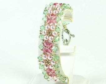 Woven Floral Bracelet in Pink and Green, Swarovski Crystals