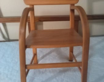 Hand build one of a kind oak childs chair