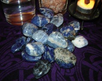 SODALITE   Set of 2 Gemstones   Psychic   Intuition   Creativity   Truth   Self Expression   Wicca   Witchcraft   Pagan