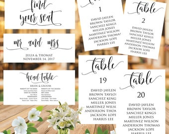 Wedding Seating Chart Template, Wedding Seating Printable, Table Plan, Table Cards, Seating Cards, Seating Chart Download, INSTALL DOWNLOAD