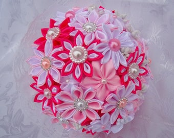 Wedding bouquet in pink and white satin and lace with kanzashi flowers