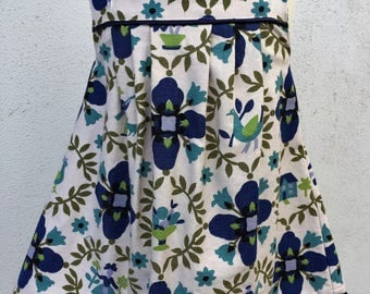 Girls pleated pinafore. Vintage Folk Art printed cotton. Size 1-3