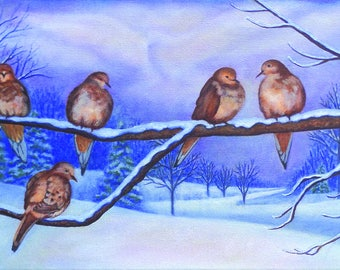 """Painting and Print titled """"Good Morning, Doves"""""""