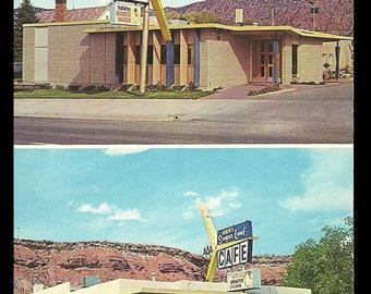 Sugar Loaf Cafe Postcard Advertising Cedar City and St George Utah UT PC Phone Booth Mail Box