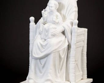 RARE Antique Our Lady of Chartres of the Underground Parian Porcelain Statue Virgin Mary w Child Jesus Figurine Religious Madonna Figure 1