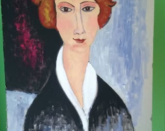 Copyright COPY, painting tempera on cardboard portrait inspired Modigliani