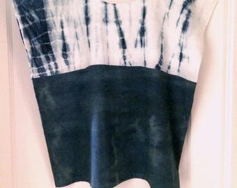 Indigo Dyed Cotton Top - Two-toned - Shibori Technique - Size Medium