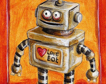 ACEO Print - Vintage Style Robot in Love, Wedding Day Robot in silver and bronze, Artist Sketch Card Robot