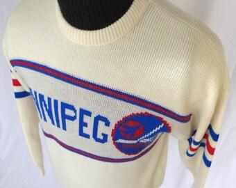 WINNIPEG JETS 80s 90's Rare Vintage Retro CCM Knit Pullover Sweater Nhl Hockey
