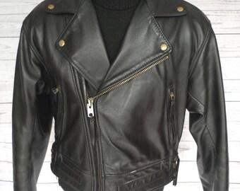LANGLITZ LEATHERS Columbia BLACK Leather Motorcycle Jacket Superb! Vintage Lg
