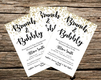 Customized - Printable - Brunch and Bubbly Bridal Shower Invitation - Gold and White