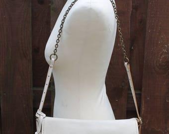 Vintage RABEANCO Clutch Shoulder Evening Saddle Satchel Bag Quality Italian Buttermilk Ivory Leather Chain Handle Hide Harness Purse Fab