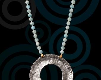 Necklace Medallion aquamarine stones