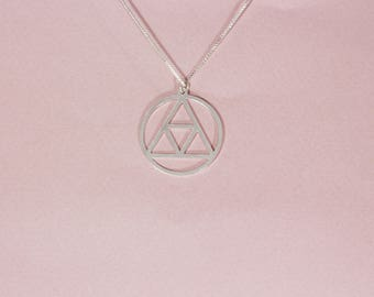 Harry potter necklace silver deathly hallows necklace illuminati sign necklace illuminati necklace illuminati symbol hogwarts necklace