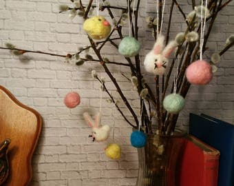 Easter Tree Decoration Set Ornaments Bunnies Chicks Felt Felted Wool Ornament Decor Decoration