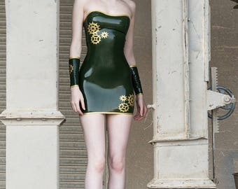 LaTeX steampunk mini dress, tube dress - colour choice