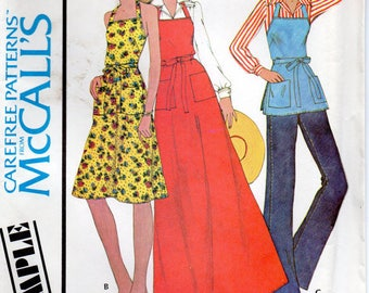 Vintage 70's Pattern from 1975.  McCall's Sample Butcher apron dress pattern.