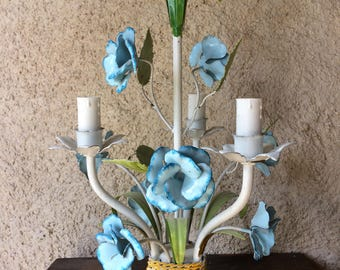 French toleware chandelier blue enamel roses | 1960s