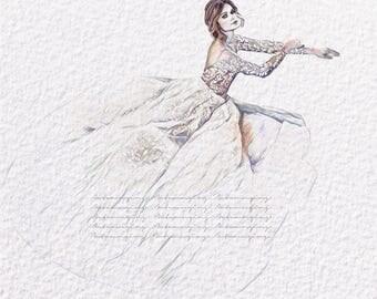 Bridal Fashion Print (ZuhairMurad Fashion Illustration)