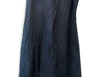 Not Your Mom's 90's Long Linen Denim Pocket dress