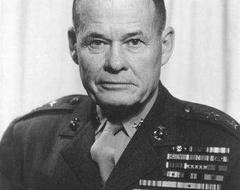 General Lewis Chesty Puller United States Marines WW2 Korea 8x10 photo Nice