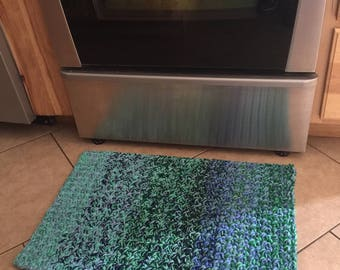 Blue/Green Crochet Rug