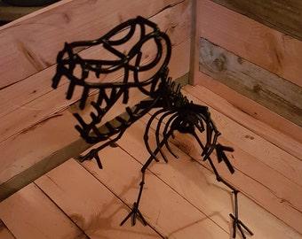 Metal dinosaur welded scrap metal art metal sculpture