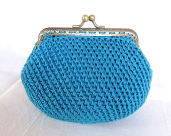 Cotton turquoise Keychain coin purse make up kit