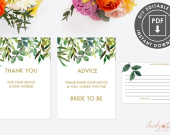 bridal shower advice cards template - printable breakfast at tiffany 39 s advice card instant