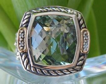 Amethyst, Sterling Silver & 18K Gold Ring