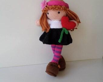 Doll crochet, handmade by me, doll amigurumi doll heart.