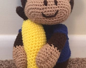 crochet monkey, monkey stuffed animal, monkey with banana, plush monkey, monkey amigurumi