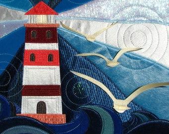 Textile picture - Lighthouse/wall art, art quilt/interior decoration