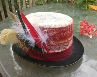 Red and Gold Paisley Top Hat