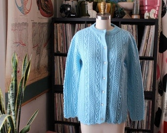 light blue pointelle cardigan . womens large xl
