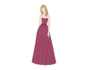 Sweetheart Style Evening Dress Sewing Pattern - Sizes 8-22 UK - Download PDF