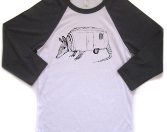 armadillo baseball tshirt, armadillo shirt, airstream, baseball t, armadillo tshirt, silkscreen shirt, men's gift idea, free ship